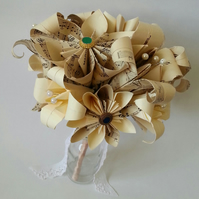 Paper Flowers Origami Bridal Wedding Bouquet In Vintage Music Sheet Paper