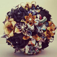 Batman DC Comic Book Theme Wedding Paper Flowers Origami Bridal Bouquet