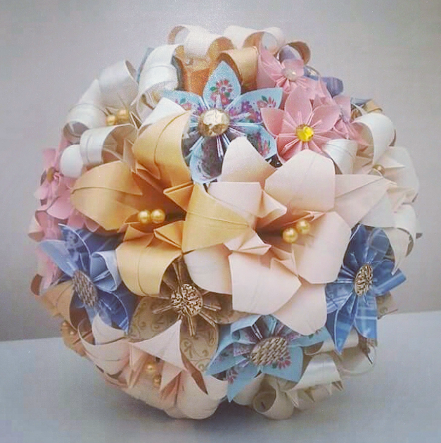 Paper Flowers Origami Wedding Bouquet Gold Blush Pink Peach Cream Blue Buttons
