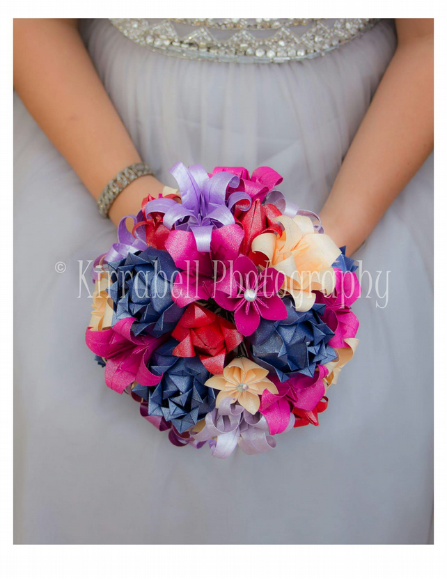 Paper Flowers Origami Bridal Wedding Bouquet Roses Navy Fuchsia Hot Pink