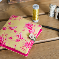 Sewing case and kit in pretty Tilda birds and roses print