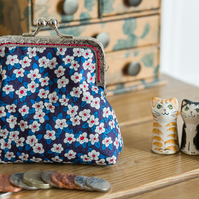 Frame coin purse made with floral Liberty lawn print