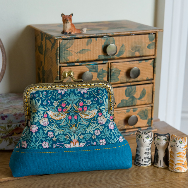 Frame purse made with Liberty lawn, Essex Linen and shot silk, with pocket