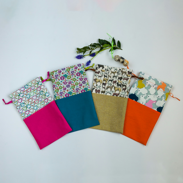 Sock fabric gift bag and paper wrapper, perfect for hand knit socks