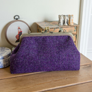 Harris Tweed purple herringbone shoulder bag with Liberty lawn lining