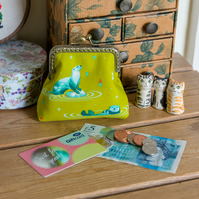 Otters purse - a frame coin purse featuring super cute otters in bright greens