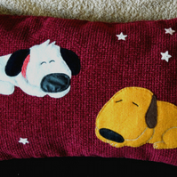 "Handmade applique nursery cushion cover ""Two Sleeping Dogs"""