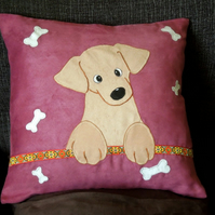 "Handmade, appliqued cushion cover ""Little Puppy"""