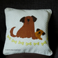 "Handmade, appliqued cushion cover ""Dog and Her Puppy"""