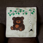 "Handmade, appliqued cushion cover ""Little Bear under the Tree"""