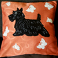 "Handmade, appliqued cushion cover ""Scottie with White Butterflies"""