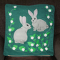 "Handmade appliqued cushion cover ""Two Cute Hares"""
