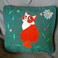 "Handmade, appliqued cushion cover ""Ginger Cat"""