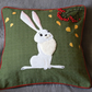 "Handmade, appliqued cushion cover ""Autumn Hare"""