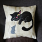 "Handmade, appliqued cushion cover ""Cat and Mouse"""