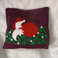 "Handmade, appliqued cushion cover ""Fox with Flowers"""