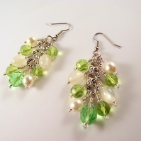 Spring Cluster Earrings Cream Green