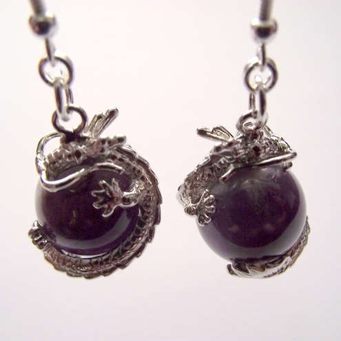 Dragon Ball Earrings Amethyst Sterling Silver
