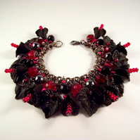 Charm Bracelet Flower Black Red