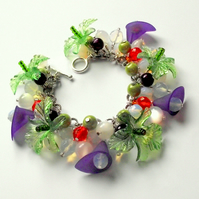 Charm Bracelet Green Purple Orange