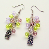 Cluster Earrings Lilac Green Lotus Flower
