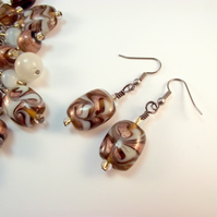 Bronze White Brown Dangle Earrings