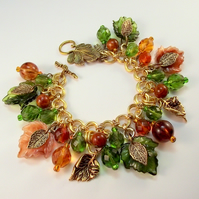 Charm Bracelet Autumn Forest Green Brown Leaf