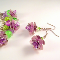 Flower earrings purple green