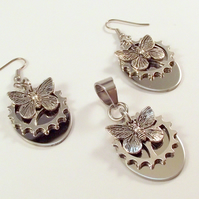 Steampunk Butterfly Cog Earrings Pendant Set