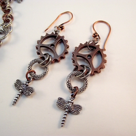 Steampunk Earrings Dragonfly Cogs
