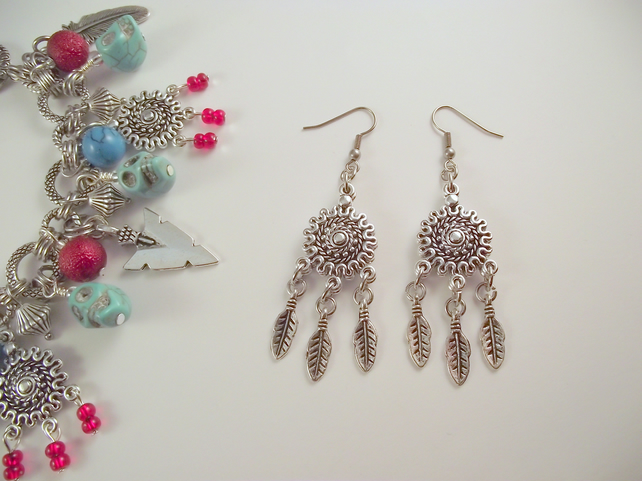 Dream Catcher earrings tribal silver