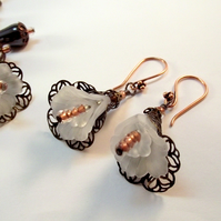 White Flower Earrings Vintage Filigree