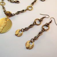 Charm Earrings Egyptian Brass Scarab