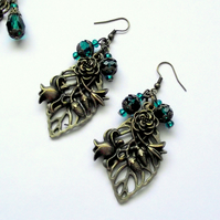 Victorian Cluster Earrings Vintage Bronze Teal Flower Leaf