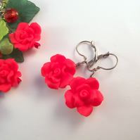 Red Rose Earrings Valentine Gift