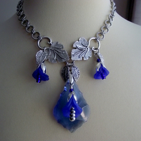 Charm Necklace Blue Flower Silver Leaf
