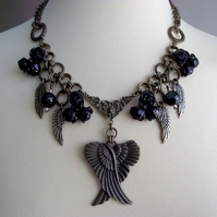 Charm Necklace Black Rose Wings