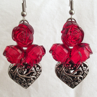 Earrings Red Roses Hearts