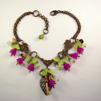 Charm Necklace Flowers Key Leaf Vintage Style