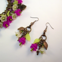 Earrings Flowers Key Leaf