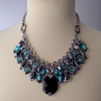 Art Deco Gemstone Charm Necklace Teal Black Silver