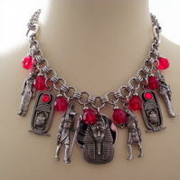 Egyptian Charm Necklace Ancient Gods Pharoah Pewter Stainless