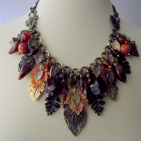Autumn Necklace Charm Bib Amber Bronze Leaf Collar