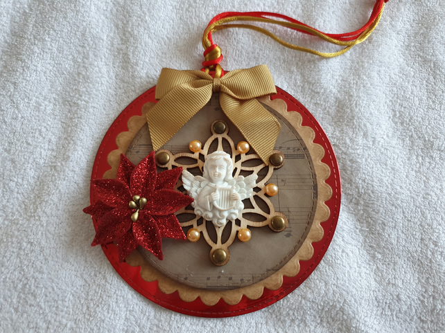 Luxury Traditional Christmas Cherub Gift Tag Hanging Decoration