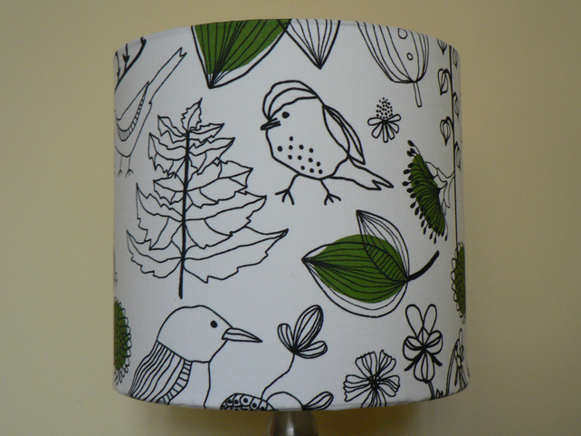 Handmade 'Scandi Birds' 30cm Drum Lampshade - Green, White and Black