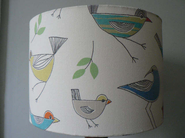Handmade Stick Birds 30cm Drum Lampshade - Ochre, Blue, Green, Taupe and Cream