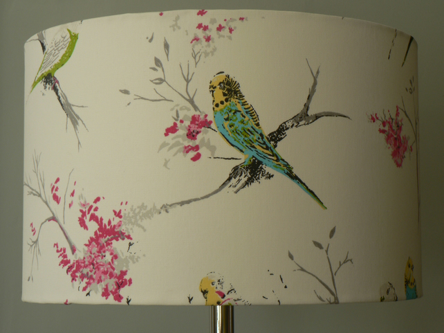 Handmade 'Chirpy' Standard Lampshade 40cms - Pink,, White and Blues