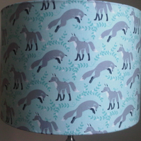 'Fox in Socks' Handmade 30cm drum lampshade - Blue, White and Grey