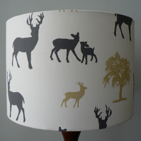 "Handmade 30cm ""Deer Park"" Drum Lampshade - Grey, Cream and Green"