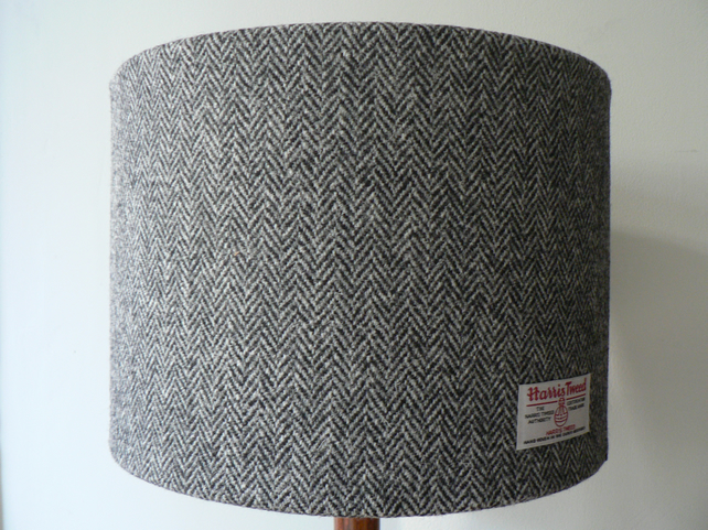 Handmade Harris Tweed Drum Lampshade in Herringbone 30cm
